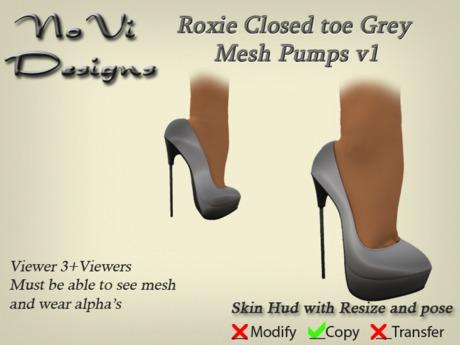 Roxie Grey Closed toe Mesh Pumps v1