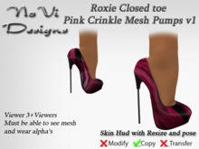 Roxie Pink Crinkle Mesh Pumps v1