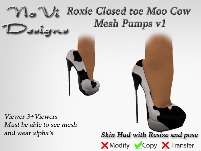 Roxie Moo Cow Closed toe Mesh Pumps
