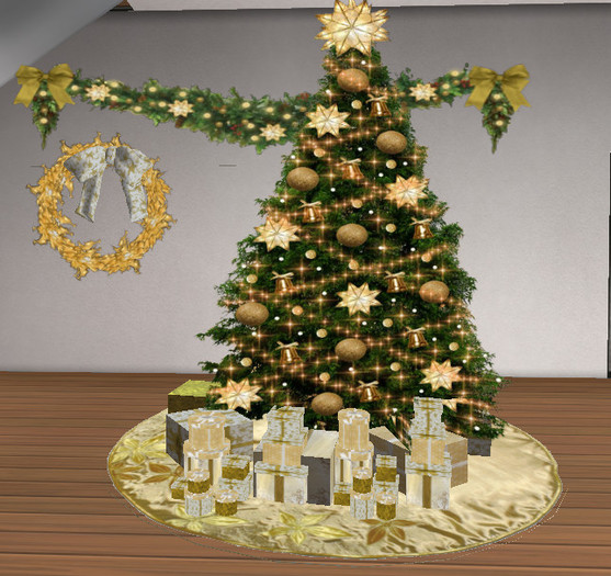 Gold Christmas Decor Pack - Wreath, Tree Skirt, Tree and Garland w/Twinkling Lights, with 22 Mesh Presents, 5 Prims