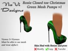 Roxie Christmas Green Mesh Pumps v1