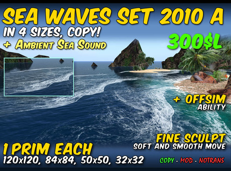 COPY - Sea waves 2010 A - in 4 sizes with ambient ocean sound + offsim