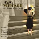 KaliKo Vintage - Winter Coat - Fur Trim - Black - Rigged Mesh