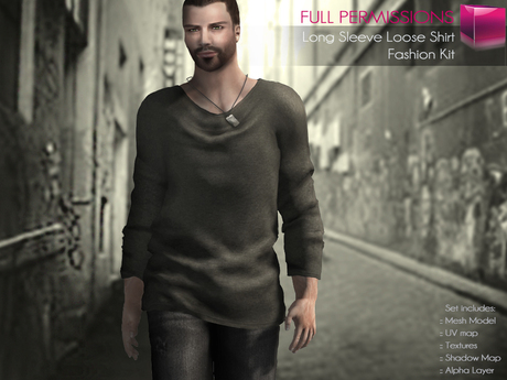 FULL PERM CLASSIC RIGGED MESH Men's Male Long Sleeve Round Neck Loose Sweater with Army Name Tag - 5 TEXTURES