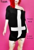 *Twak* Ladies Long Sweater Inverted Cross Black