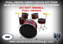 ~Full perm Mesh Drum kit 8 different textureable faces!
