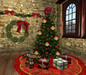 Red Velvet Christmas Decor Pack - Tree, Tree Skirt, and Wreath w/Twinkling Lights, and 30 Mesh Presents, 5 Prims