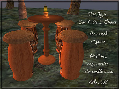 Bayview Market Tiki Style Bar Table
