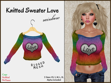 *Soulglitter* Knitted Sweater Love - Rainbow