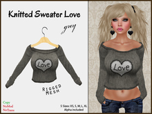 *Soulglitter* Knitted Sweater Love - Gray