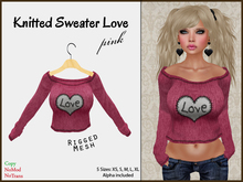 *Soulglitter* Knitted Sweater Love - Pink
