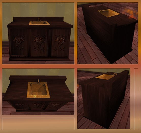 Antique Dark Mahogany Sink Cabinet. Mesh.
