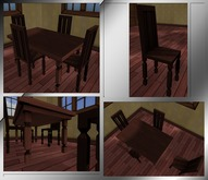 Antique Dark Mahogany Table & Chair. Mesh