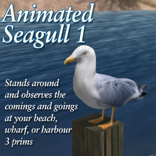 Seagull 1 (animated)  - sea/seaside/harbour/wharf/bird/gull/seabird