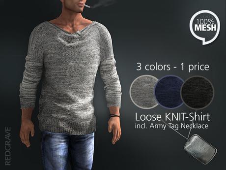 Mesh Loose Knit-Shirt - REDGRAVE