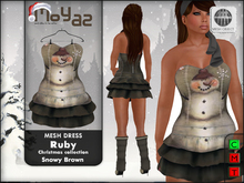 Ruby Mesh Dress ~ xmas edition - snowy brown