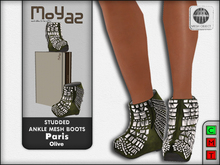 Paris Studded Ankle Mesh Boots - Olive