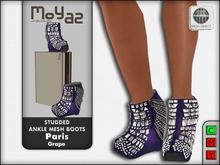 Paris Studded Ankle Mesh Boots - Grape