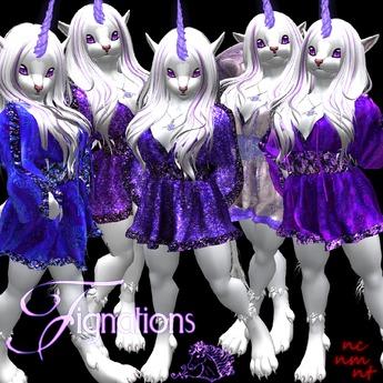 *FIG* Ruffled Short Party Dress - Amethyst Amore Set - w/HUD
