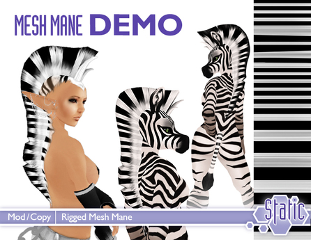 ::Static:: Mesh Equine/Zebra Mane - DEMO