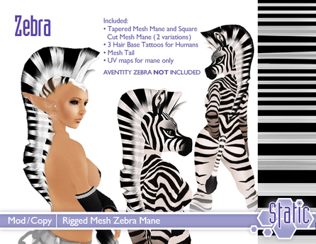 ::Static:: MESH Zebra Mane and Tail