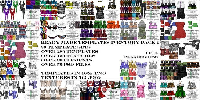 [NB] Inc. Ready Made Template Inventory Pack 1 - 20 Template Sets! Over 280 INWORLD Templates! & Much More!