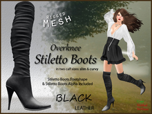 *Soulglitter* Mesh Overknee Stiletto Boots - Leather - black