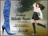 *Soulglitter* Mesh Overknee Stiletto Boots - Leather - blue