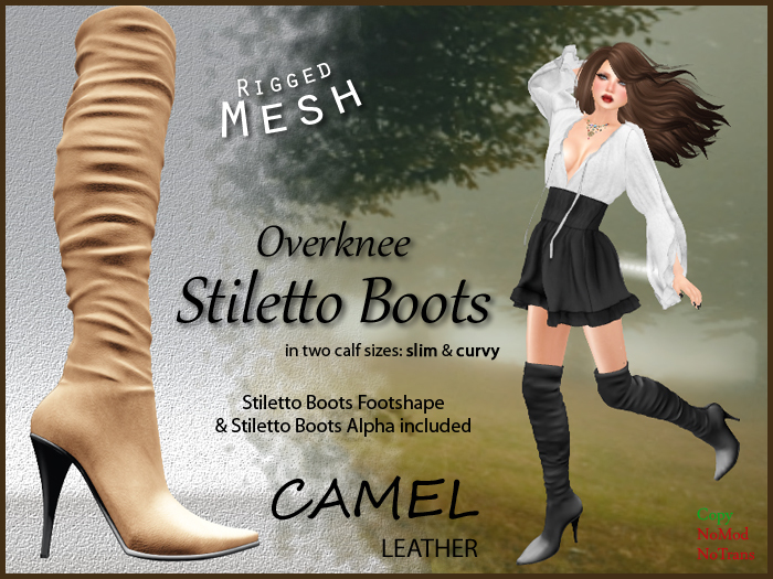 *Soulglitter* Mesh Overknee Stiletto Boots - Leather - camel
