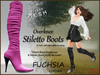 *Soulglitter* Mesh Overknee Stiletto Boots - Leather - fuchsia
