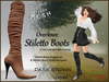 *Soulglitter* Mesh Overknee Stiletto Boots - Leather - dark brown