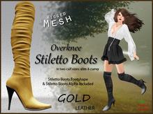 *Soulglitter* Mesh Overknee Stiletto Boots - Leather - gold
