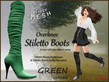 *Soulglitter* Mesh Overknee Stiletto Boots - Leather - green