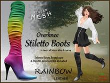 *Soulglitter* Mesh Overknee Stiletto Boots - Leather - rainbow