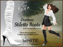 *Soulglitter* Mesh Overknee Stiletto Boots - Patent - white