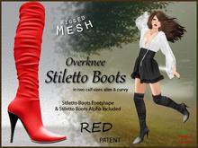 *Soulglitter* Mesh Overknee Stiletto Boots - Patent - red