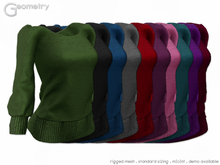 <Geometry> Cozy Sweater> All Colors ( rigged mesh in standard sizing )