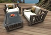 Realistic chair set with table and glass bowl with apples 100% MESH - furniture for patio gazebo or beach pier