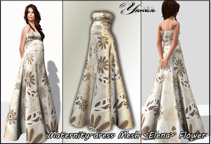 Maternity Dress Mesh <Elena> Flower