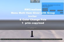 Menu Driven Multi Item Giver with Group Inviter & Color Change Pole copy/mod (boxed)