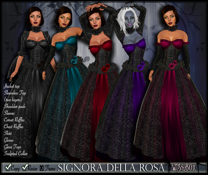 [Wishbox] Signora della Rosa (Megapack) -- Five Colors - Medieval Fantasy Gown -- Renaissance Goth Gothic Dress