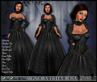 [Wishbox] Signora della Rosa (Black) -- Medieval Fantasy Gown -- Renaissance Goth Gothic Formal Role Play Dress