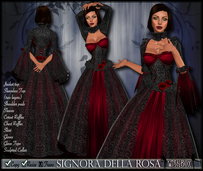 [Wishbox] Signora della Rosa (Red) -- Medieval Fantasy Gown -- Renaissance Goth Gothic Formal Role Play Dress