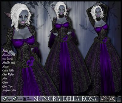 [Wishbox] Signora della Rosa (Purple) -- Medieval Fantasy Gown -- Renaissance Goth Gothic Formal Role Play Dress