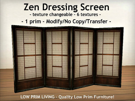 Second Life Marketplace Zen Dressing Screen Texture Changeable Decor Home Decor Privacy Screen Bedroom Furniture