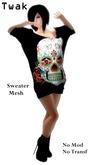 *Twak* Ladies Long Sweater Mexican Skull