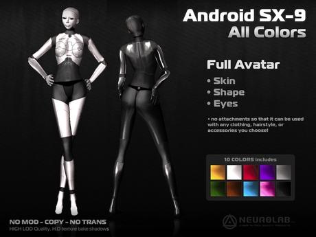 Cyborg Skin Avatar ANDROID SX-9  (All Colors - Fat Pack) [NeurolaB Inc.]