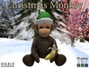 Christmas Monkey With Green Santa Hat