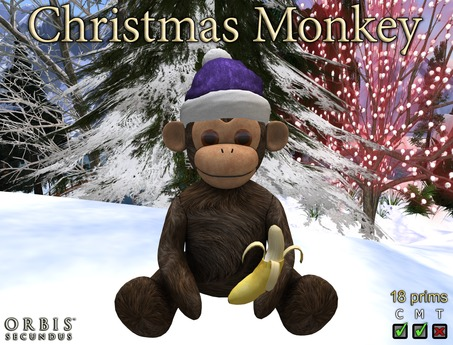 Christmas Monkey With Purple Santa Hat