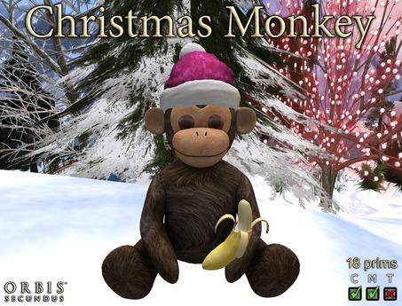 Christmas Monkey With Pink Santa Hat